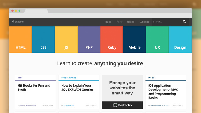 SitePoint - Learn HTML, CSS, JavaScript, PHP, Ruby & Responsive Design