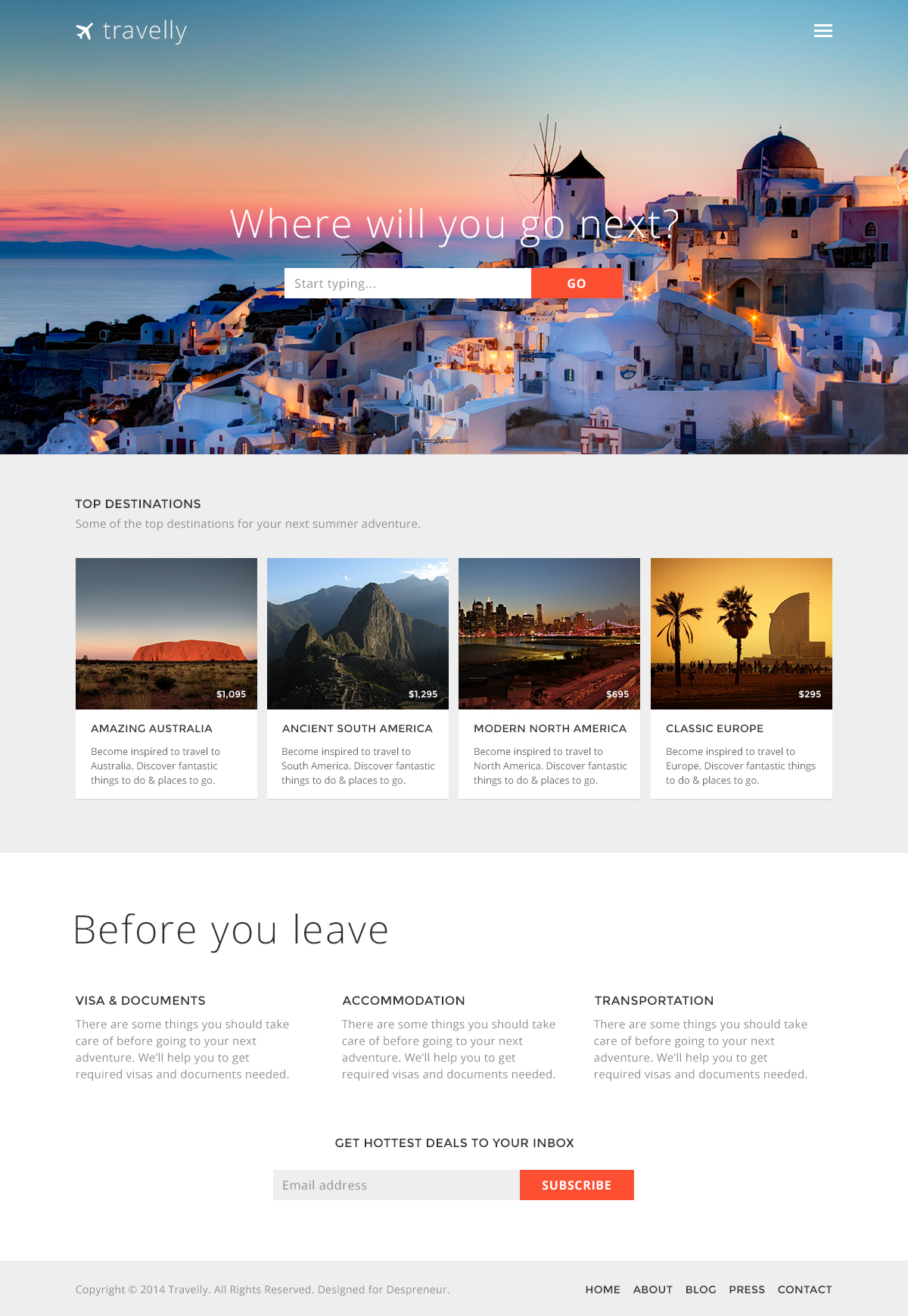 Travelly free travel website psd template travel website psd template click on the image to see full view pronofoot35fo Image collections
