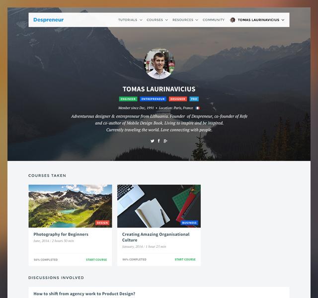 Profile page on Despreneur Academy.